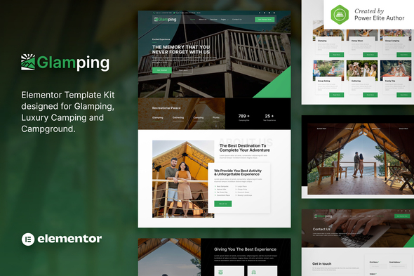 Glamping – Luxury Camping & Campground Elementor Template Kit
