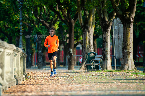Race of a middle-aged athlete - Stock Photo - Images
