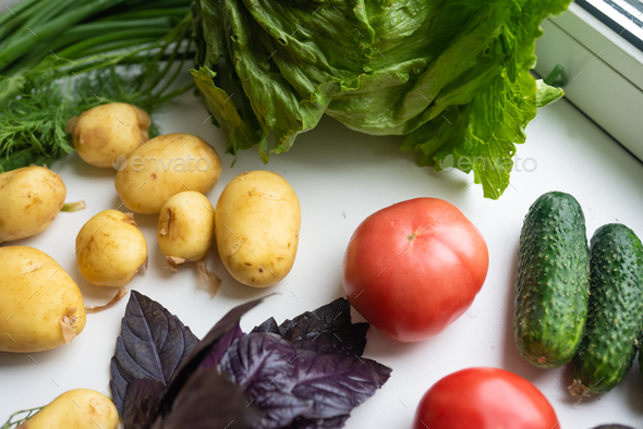 Fresh healthy vegetables for a healthy diet. Healthy food concept - Stock Photo - Images