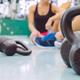 Black iron kettlebell on the floor of fitness center - PhotoDune Item for Sale
