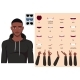 African American Man in Hoodie Character Face