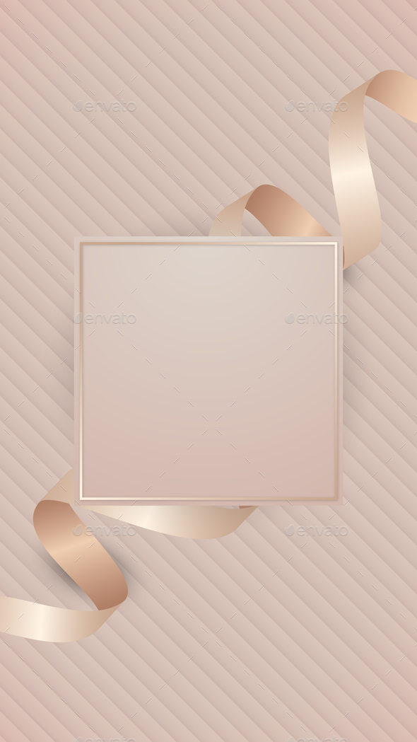 Square frame with pink gold ribbon illustration - Stock Photo - Images