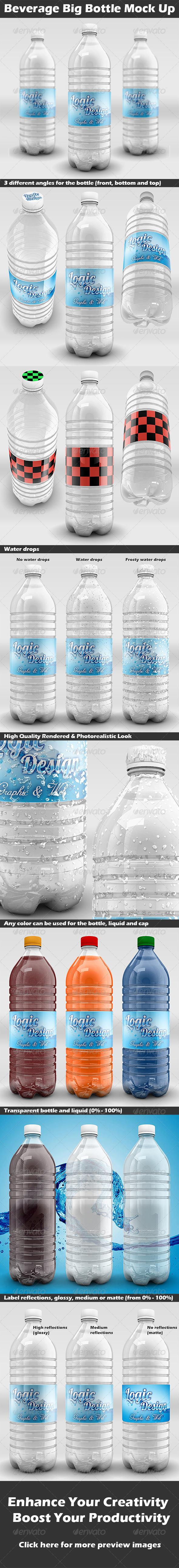 Beverage Big Bottle Mock Up - Food and Drink Packaging