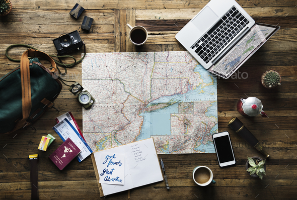 Aerial view of journey planning with map location - Stock Photo - Images