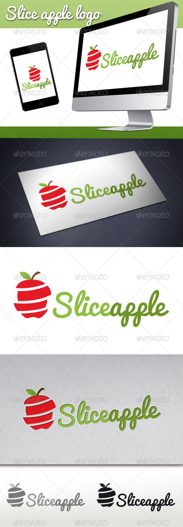 Slice Apple Logo - Food Logo Templates
