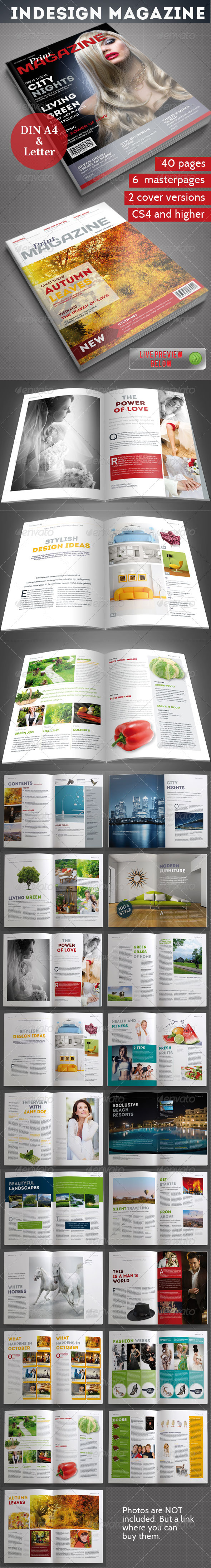 InDesign Magazine Template 40 pages - Magazines Print Templates