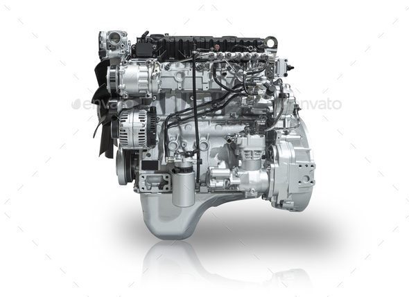 New Car Engine Isolated on White Background - Stock Photo - Images