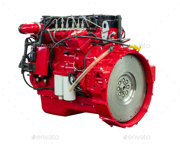 New Powerful Diesel Car Red Engine Isolated on White Background - Stock Photo - Images