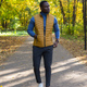 Cheerful african american young man in stylish clothes walks in autumn park on sunny warm autumn day - PhotoDune Item for Sale