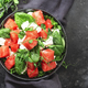 Watermelon salad bowl with soft goat cheese, spinach and pea sprouts - PhotoDune Item for Sale
