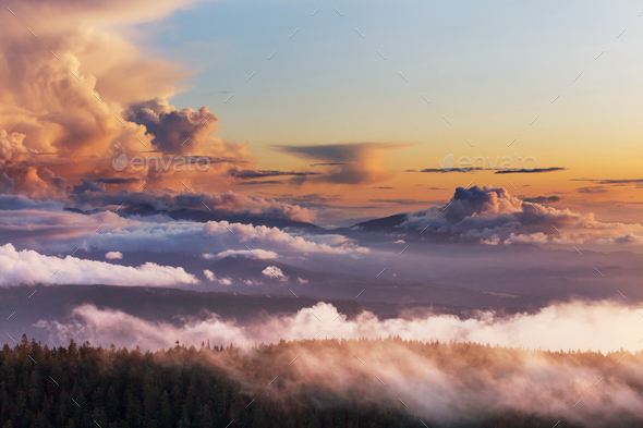 Foggy mountains - Stock Photo - Images