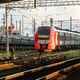 Modern intercity high speed train at sunset. Commercial suburban transportation concept. - PhotoDune Item for Sale