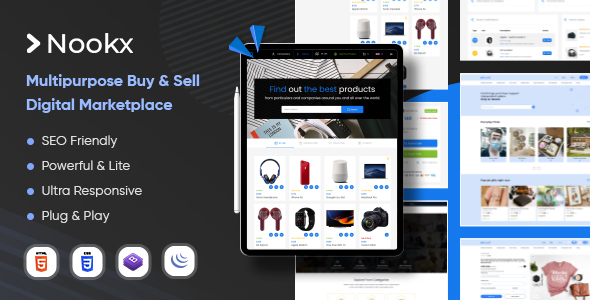 Extraordinary Nookx - Multipurpose Buy & Sell - Digital Marketplace Bootstrap HTML Template with Admin Panel