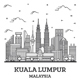 Outline Kuala Lumpur Malaysia City Skyline with Modern Buildings Isolated on White.