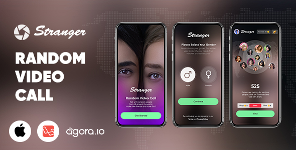 Stranger - Random Video Call with people  - Gender Match - In-app purchase - Agora | iOS | Laravel