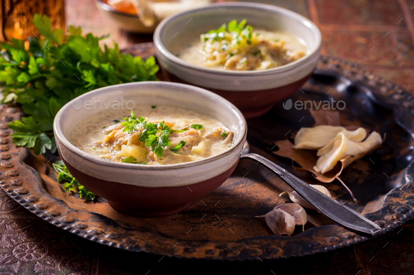 Vegan cabbage soup with oyster mushrooms with vegetables - Stock Photo - Images