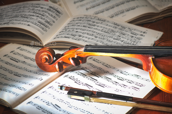 Violin with bow - Stock Photo - Images