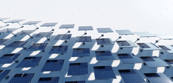 Solar photovoltaic panels array system - Stock Photo - Images