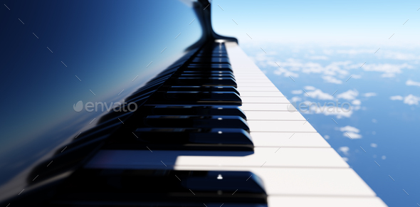 Grand piano keyboard on blue sky - Stock Photo - Images