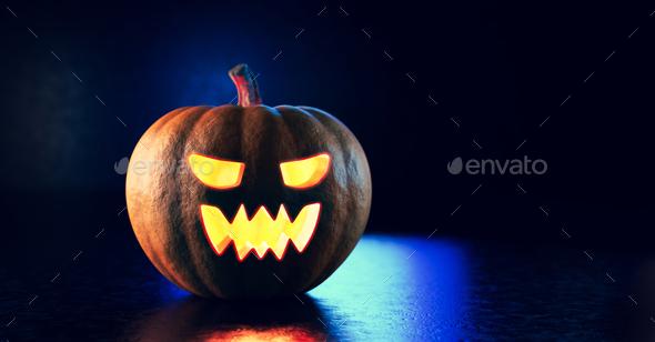 Halloween pumpkin glowing. Jack-o'-lantern - Stock Photo - Images