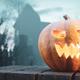 Halloween pumpkin glowing on gothic graveyard. - PhotoDune Item for Sale