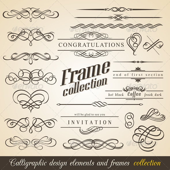 Calligraphic design elements and frames - Flourishes / Swirls Decorative