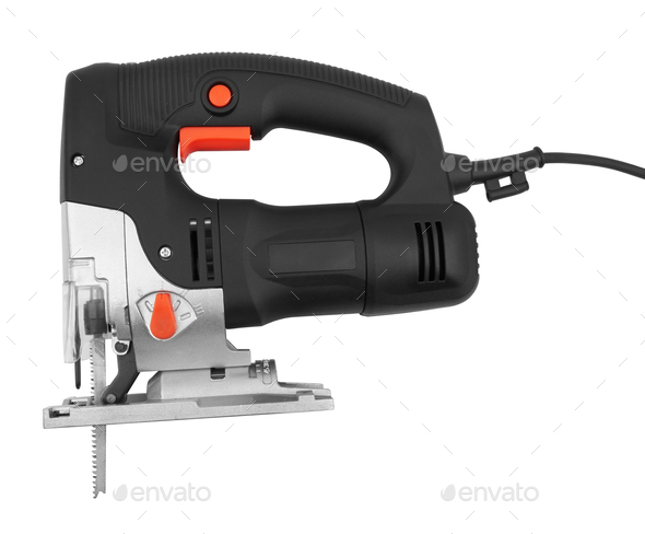 Electric jig saw machine isolated on white background - Stock Photo - Images