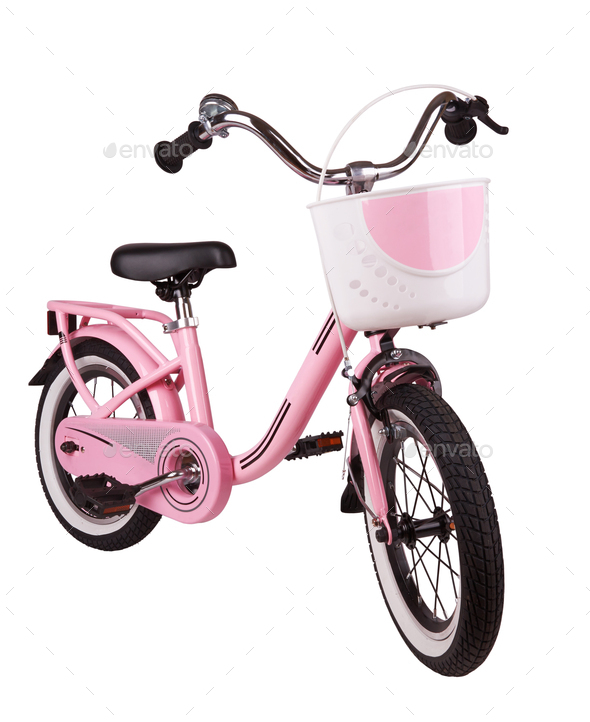 Pink kids bike isolated on a white background - Stock Photo - Images