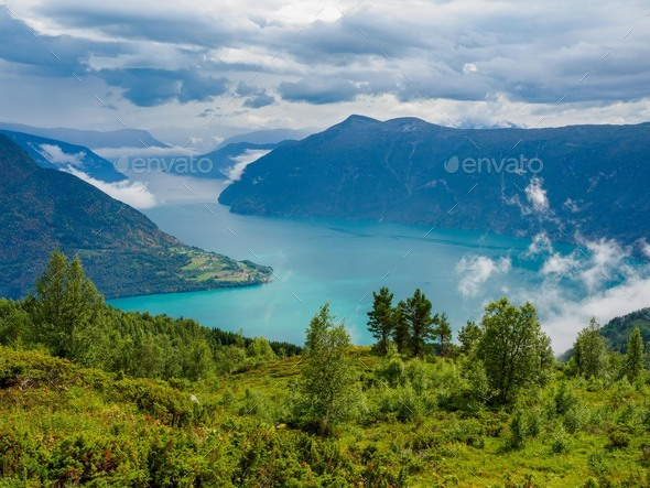 Views of LustraFjord from Molden hike in Norway - Stock Photo - Images