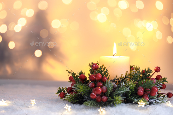 Christmas candle - Stock Photo - Images