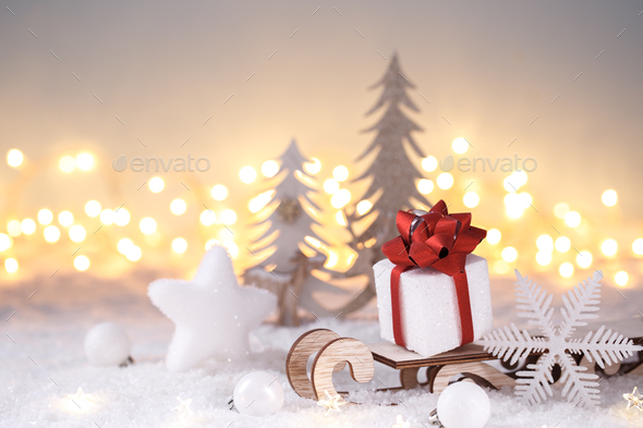 Christmas decorations on snow - Stock Photo - Images