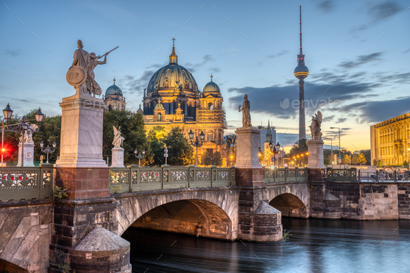 The Cathedral, the TV Tower and the Schlossbruecke in Berlin - Stock Photo - Images