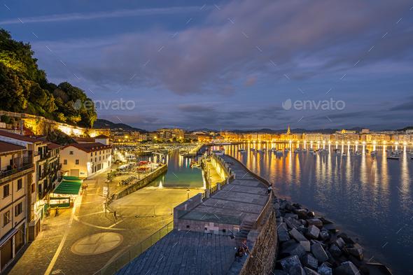 The port of San Sebastian at night - Stock Photo - Images
