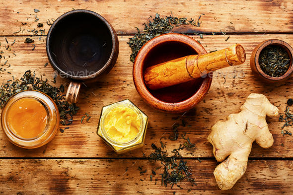 Ginger root tea - Stock Photo - Images