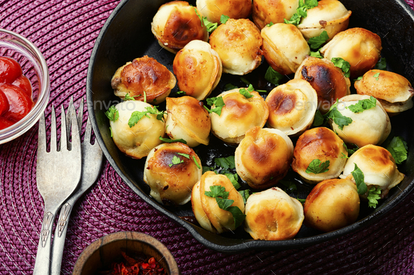 Delicious fried dumplings - Stock Photo - Images