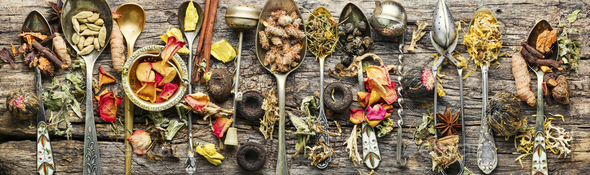 Dry teas and herbs - Stock Photo - Images