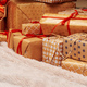 Stack of christmas gifts on beige carpet - PhotoDune Item for Sale