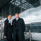 Man with woman. Aircraft crew in work uniform is together outdoors in the airport - PhotoDune Item for Sale