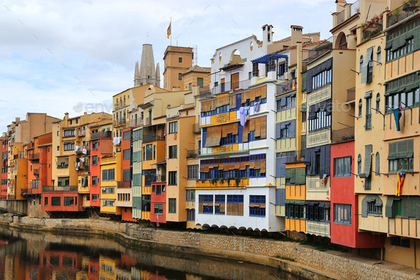 Colorful old houses on river Onyar in Girona - Stock Photo - Images