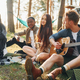 Man plays guitar. Group of young people is traveling together in the forest at daytime - PhotoDune Item for Sale