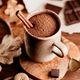 Close-up of hot chocolate in a ceramic mug on the table. - PhotoDune Item for Sale