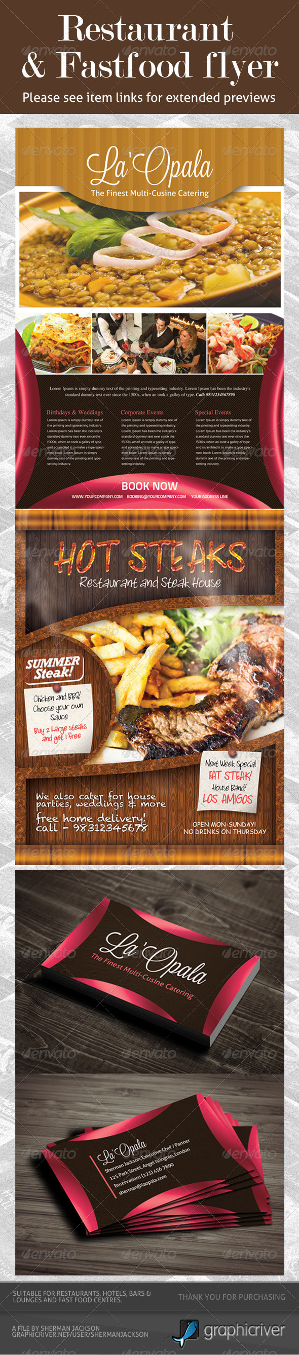 Restaurant & Fast Food Flyer PSD Template Bundle - Restaurant Flyers