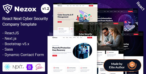 Next React Cyber Security Company Template - Nezox