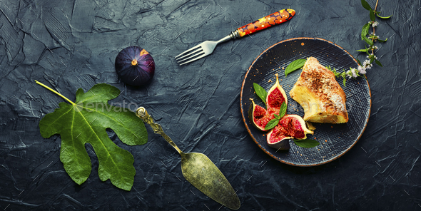 Pie with fresh figs - Stock Photo - Images