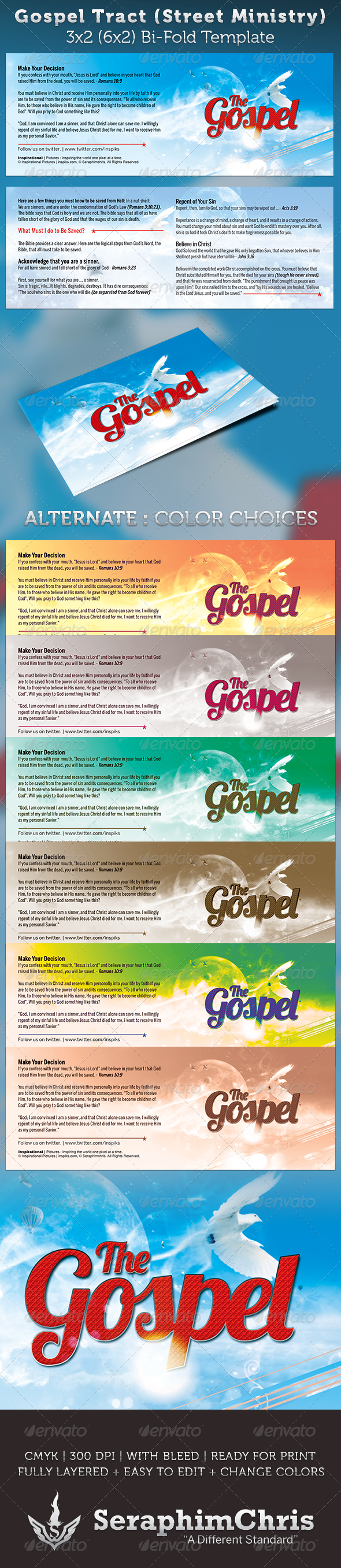Gospel Tract: Bi-Fold Template - Church Flyers