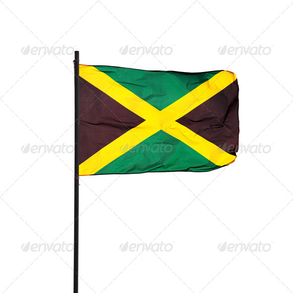 Jamaica flag in the wind and its pole on white. Photo. - Stock Photo - Images