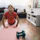 Senior woman doing online yoga sport workout class at home - Healthy and wellness elderly concept - PhotoDune Item for Sale