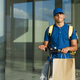 Portrait of courier man doing fast food delivery service using electric scooter - Deliver transport - PhotoDune Item for Sale