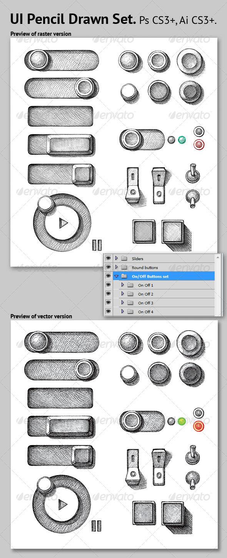 UI Pencil Drawn Set - User Interfaces Web Elements