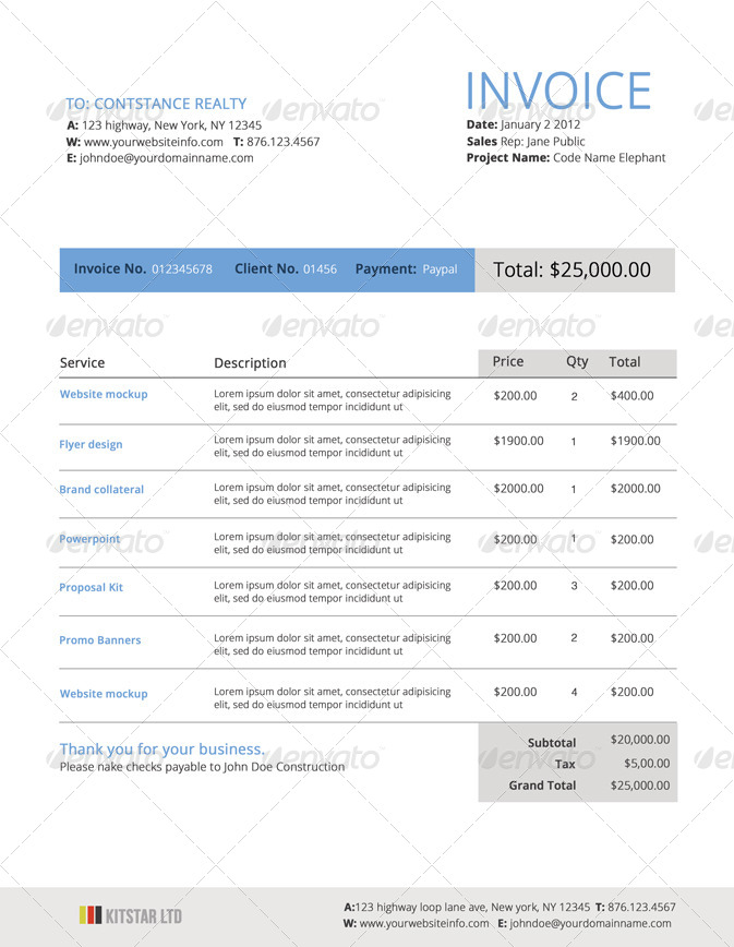 Modern Invoice Template By DesignDistrict GraphicRiver - Modern invoice template